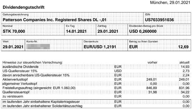 Abrechnung Patterson Companies Dividende Januar 2021