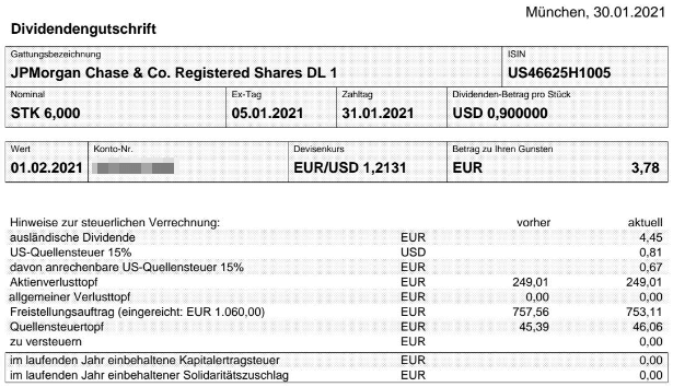 Abrechnung JPMorgan Chase Dividende Februar 2021