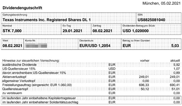 Abrechnung Texas Instruments Dividende Februar 2021