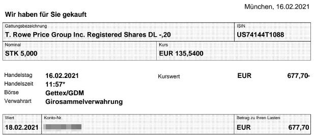Abrechnung Kauf T. Rowe Price Aktie vom 16.02.2021