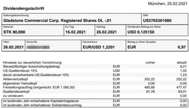 Abrechnung Gladstone Commercial Dividende Februar 2021