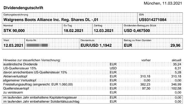 Abrechnung Walgreens Boots Alliance Dividende März 2021