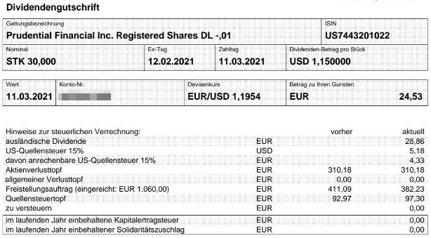 Abrechnung Prudential Financial Dividende März 2021