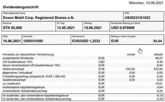 Abrechnung Exxon Mobil Dividende Juni 2021