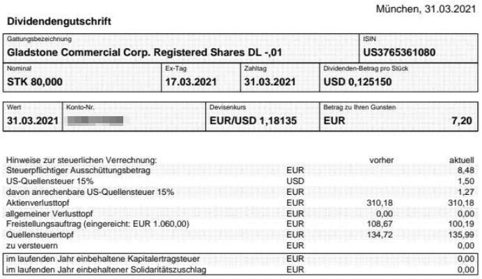 Abrechnung Gladstone Commercial Dividende März 2021