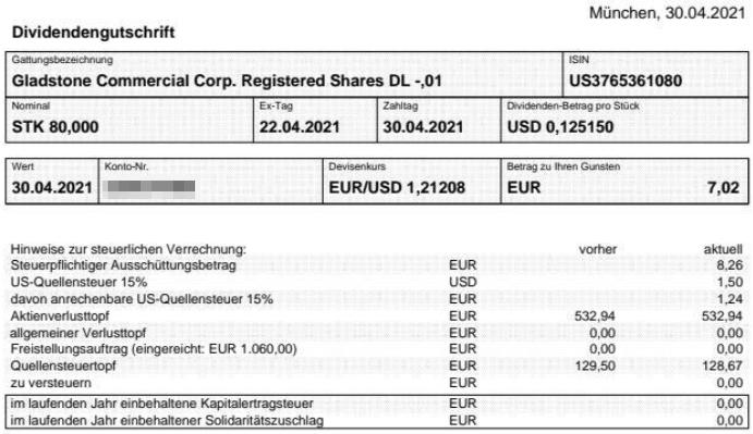 Abrechnung Gladstone Commercial Dividende April 2021