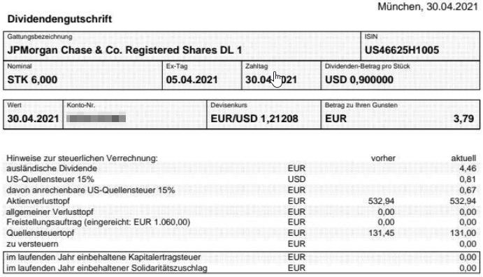 Abrechnung JPMorgan Chase Dividende April 2021