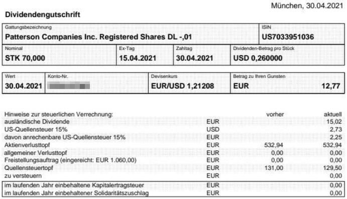 Abrechnung Patterson Companies Dividende April 2021
