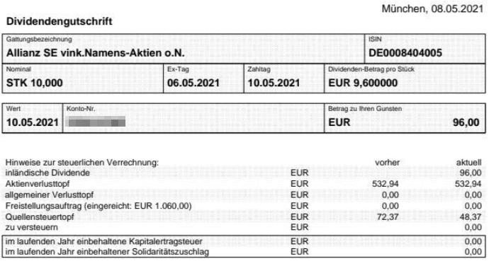 Abrechnung Allianz Dividende 2021