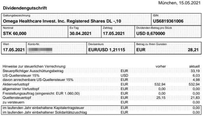 Abrechnung Omega Healthcare Investors Dividende Mai 2021