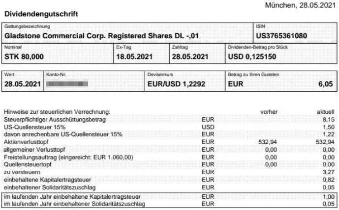 Abrechnung Gladstone Commercial Dividende Mai 2021