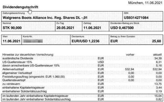 Abrechnung Walgreens Boots Alliance Dividende Juni 2021
