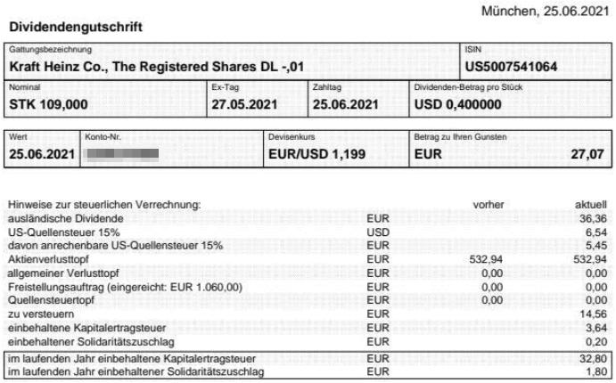 Abrechnung Kraft Heinz Dividende Juni 2021
