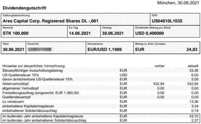 Abrechnung Ares Capital Dividende Juni 2021