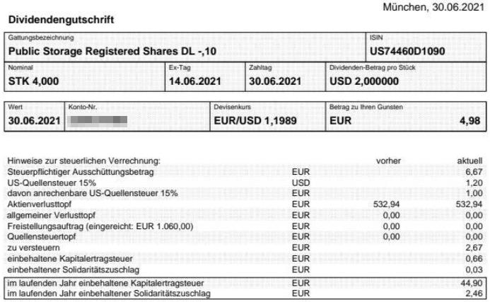 Abrechnung Public Storage Dividende Juni 2021
