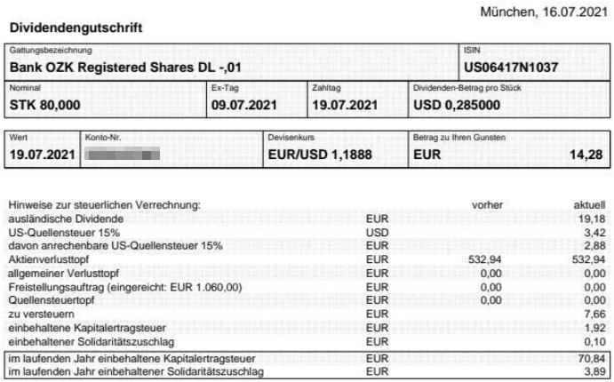 Abrechnung Bank OZK Dividende Juli 2021