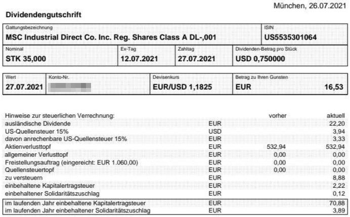 Abrechnung MSC Industrial Direct Dividende Juli 2021