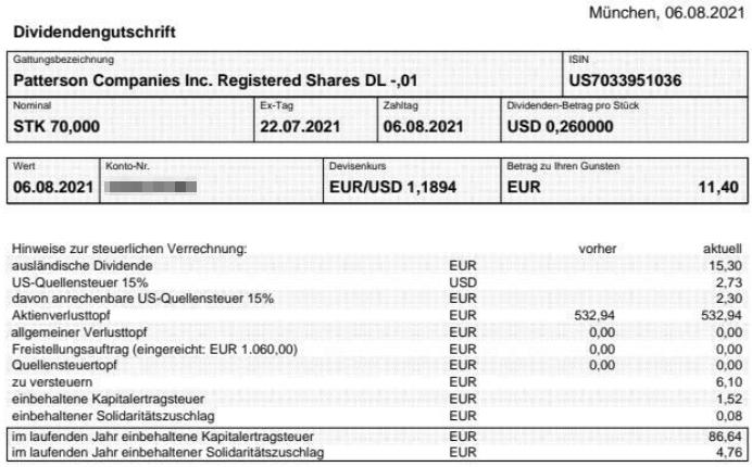 Abrechnung Patterson Companies Dividende August 2021