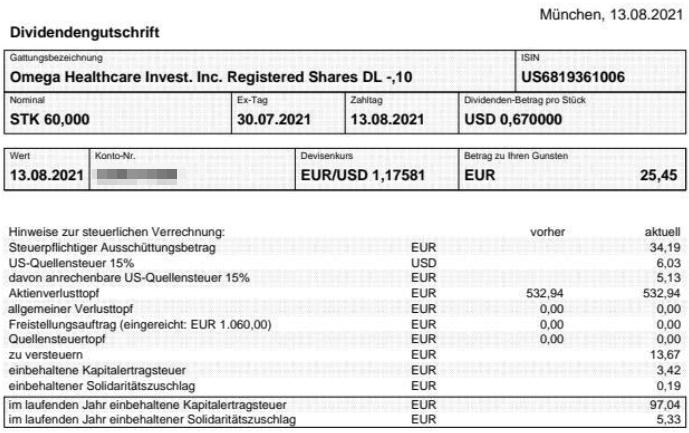 Abrechnung Omega Healthcare Investors Dividende August 2021