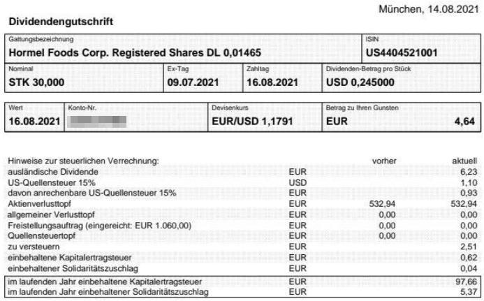 Abrechnung Hormel Foods Dividende August 2021