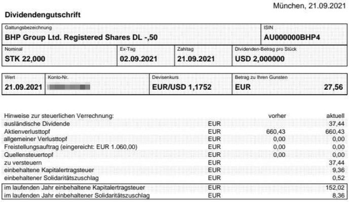 Abrechnung Schlußdividende BHP Group September 2021