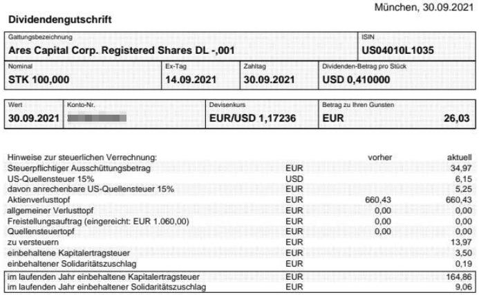Abrechnung Ares Capital Dividende September 2021